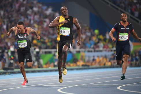 Jamaica's Usain Bolt crosses the finish line to win the men's 100-meter final on Aug. 14.