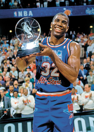 Winter 1992: Magic Johnson, who had recently announced he had HIV, accepts the All-Star Game MVP award