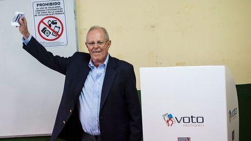 Pedro Pablo Kuczynski casts his vote.
