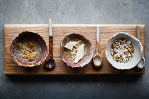 Dishes commissioned for by chef Tom Sellers for a dessert called Three Bears' Porridge at Restaurant Story in London.