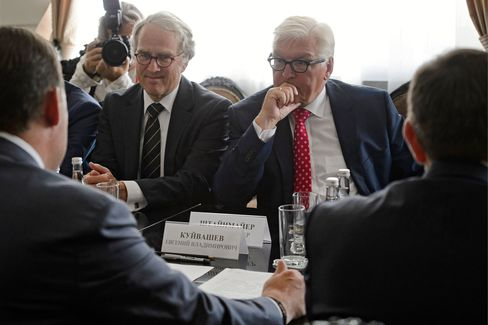 Frank-Walter Steinmeier attends meetings in Yekaterinburg on Aug. 15.