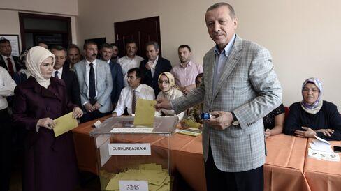 Turkish PM Erdogan Votes