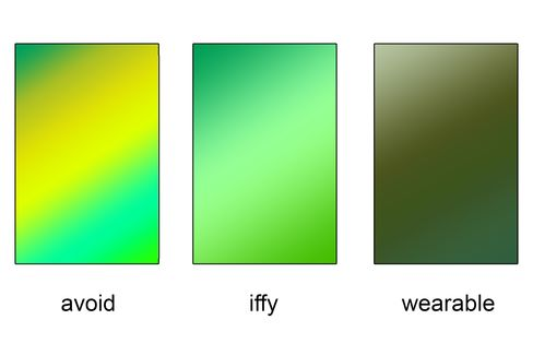 In general, stick to darker, more neutral hues like olive and hunter green (far right). Super bright shades like lawn green and chartreuse (far left)should only be worn very sparingly. Under iffy, hues like Kelly and Jade green are fresh and calming, but usually associated more with garbs for the ladies