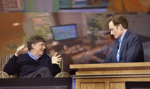 Microsoft's Bill Gates talks software with guest host Conan O'Brien at CES on Jan. 5, 2005.