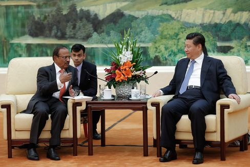Ajit Doval meets with Chinese President Xi Jinping in Beijing in September 2014.
