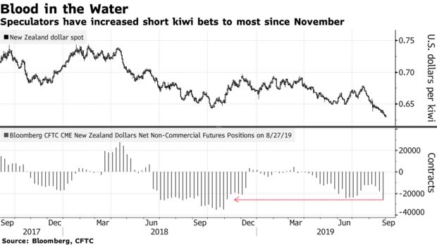 Speculators have increased short kiwi bets to most since November