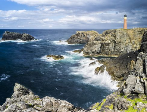 The wind-battered coast of the Isle of Lewis in the Outer Hebrides, Scotland.