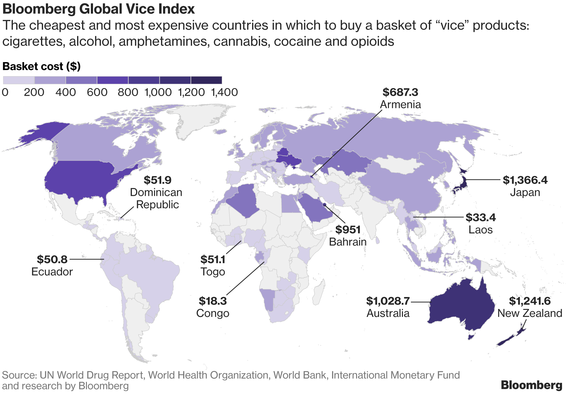 Cost of a weekly drug and booze habit from around the world map cost of a weekly drug and booze habit from around the world map bloomberg quint gumiabroncs Choice Image