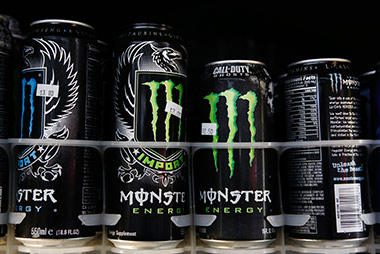 Cans of Monster energy drink.