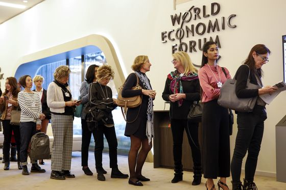 Jamie Dimon Sits Among the Gender Fringe at Davos's Equality Lounge