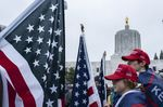 Trump supporters gathered the Oregon State Capitol on January 6.