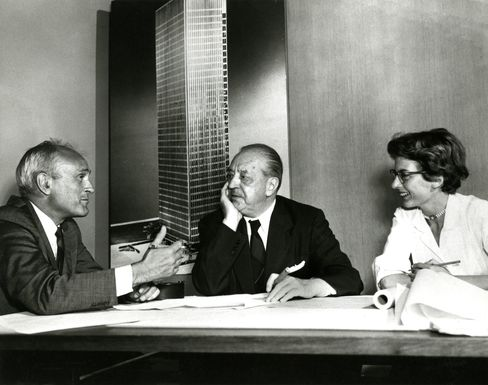 Architect Johnson (left), Mies van der Rohe (center), and Phyllis Lambert planning the Four Seasons' opening, circa 1958.