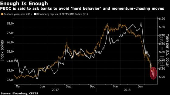 China Is AskingBanks to Avoid Yuan Market 'Herd Behavior'