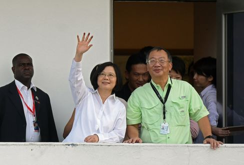 Tsai Ing-wen during her visit to the Panama Canal on June 25.