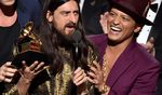 Jeff Bhasker and Bruno Mars accept the Record Of The Year award for 'Uptown Funk' onstage during The 58th GRAMMY Awards in Los Angeles on Feb. 15, 2016.
