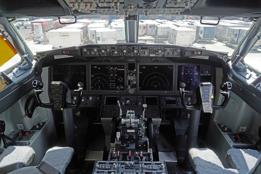 The cockpit of a grounded 737 Max 8 aircraft.