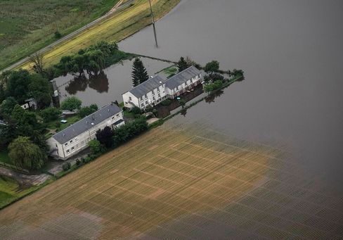 An aerial picture shows a flooded property near Blois, after the river Loire burst its banks following heavy rainfalls.