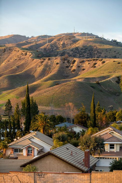 Natural gas wells in the hills above Porter Ranch.