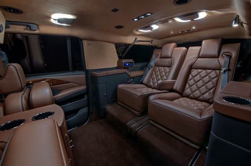 Becker offers an up-fitted Escalade in a standard size, as well as witha discreetly stretched wheelbase that increases interior space.