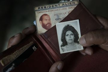 The wallet of Jose Maria Garnica Rodriguez, Columba Bush's father, containing his U.S. Immigration Resident Alien card and a picture of Columba Bush, his daughter, now the wife of Jeb Bush.