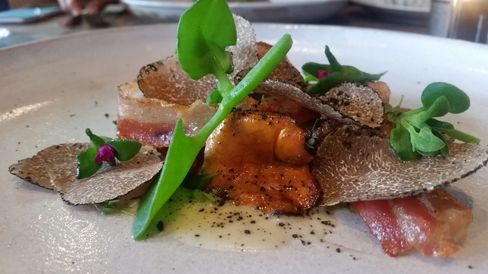 The girolles with English pancetta and lemon thyme.