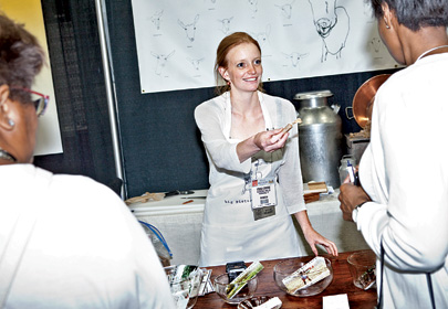 Conrad doles out goat milk caramels at the Summer Fancy Food Show