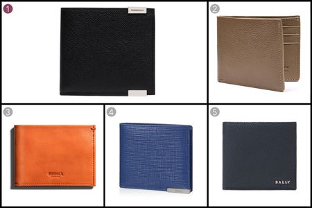 (1) Phileas Square wallet, Balenciaga, $305, balenciaga.com; (2) Leather bi-fold wallet, Lotuff Leather, $195, lotuffleather.com; (3) Slim bi-fold wallet, Shinola, $195, shinola.com; (4) Leather wallet, Tod's, $285, tods.com; (5) Leather wallet in new blue, Bally, $350, bally.com