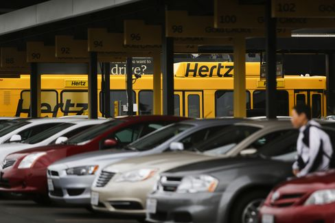 Hertz Global Holdings Inc. Rental Cars Sit in Los Angeles