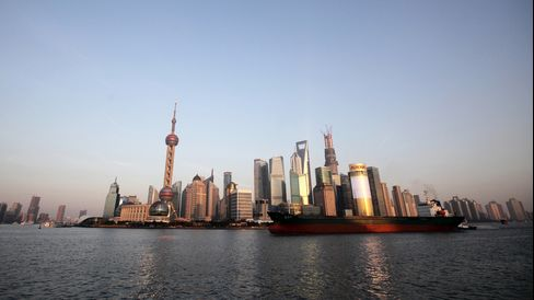 A Tanker Sails Past Shanghai