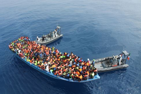 Irish Navy ship Le Eithne rescues migrants in the Mediterranean Sea in June.