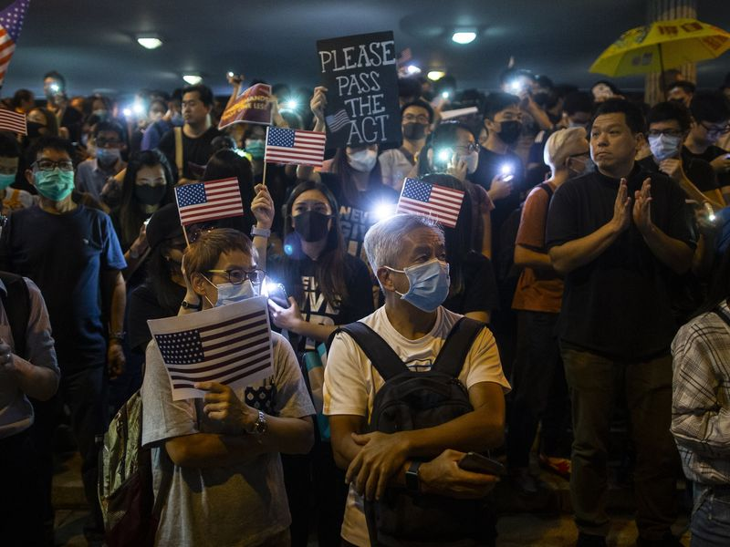 Demonstrators Attend Rally In Support Of The Hong Kong Human Rights And Democracy Act