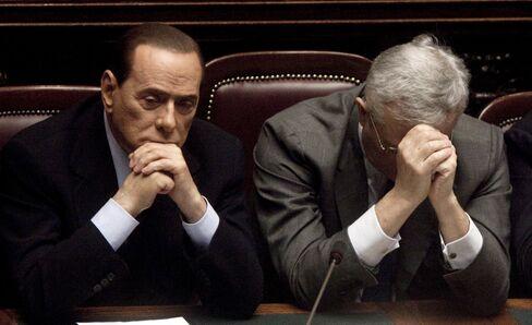 Italy's Silvio Berlusconi and Giulio Tremonti
