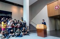 Hong Kong Chief Executive Carrie Lam News Conference Following Peaceful Mass March in Rain