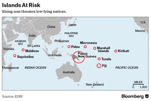 Islands at Risk from Rising Seas