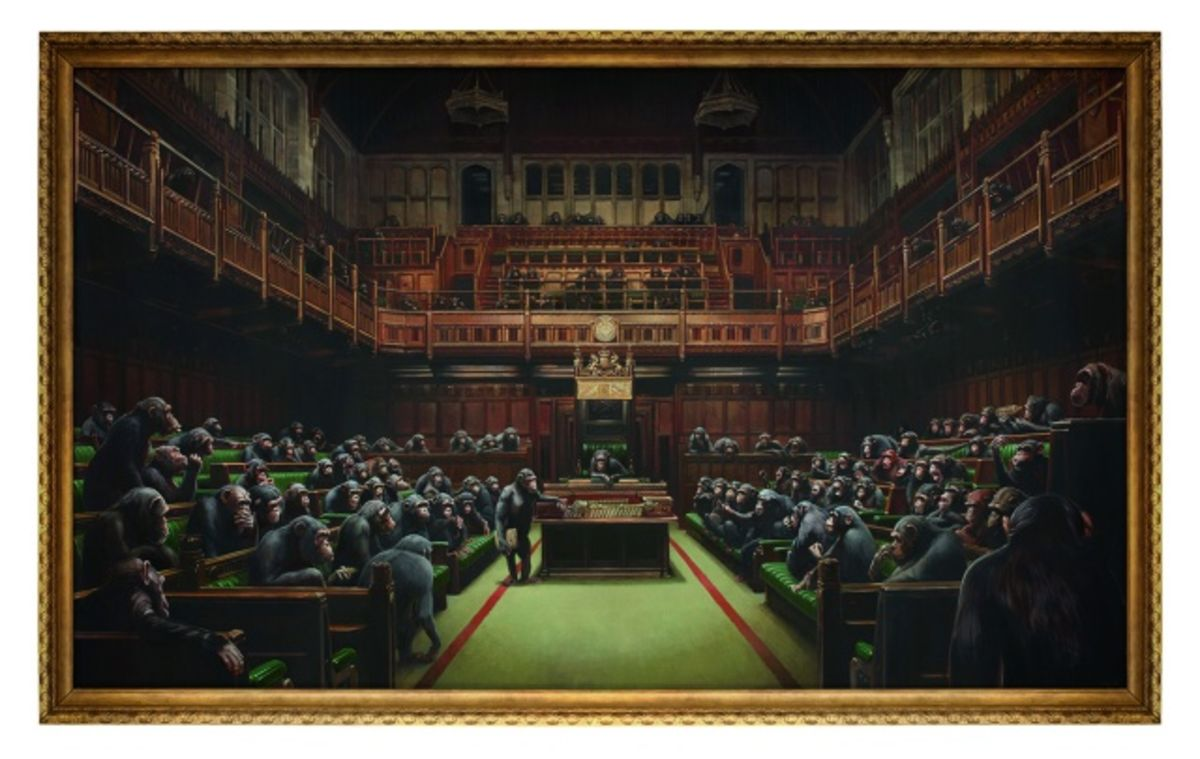 Banksy Sets Auction Record With Chimpanzees in Parliament