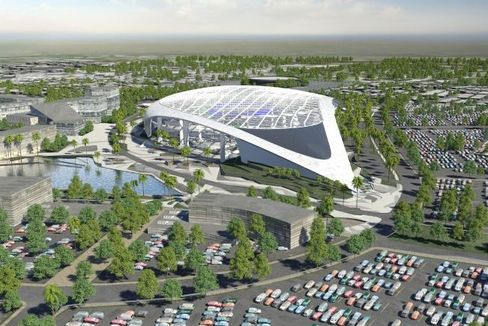 Rendering of new Rams stadium