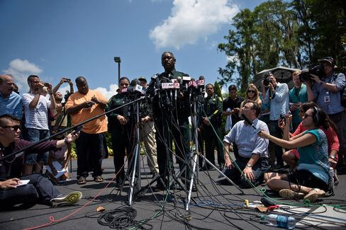 Sheriff Jerry Demings speaks to the media at Disney's Grand Floridian Resort & Spa in Orlando. Photographer: Brendan Smialowski/AFP via Getty Images