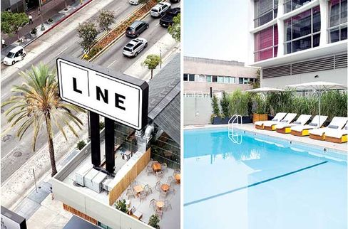 The Line's Koreatown views; the hotel's pool on a rare cloudy day