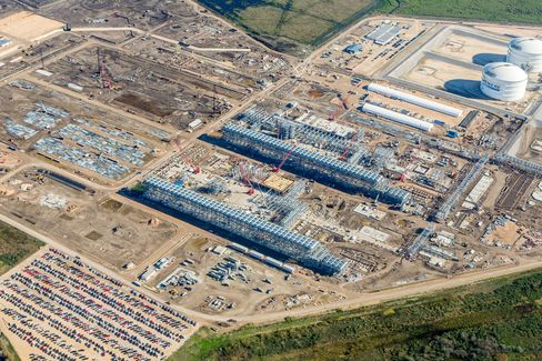 Construction at Cheniere Energy Inc.'s liquified natural gas (LNG) terminal.