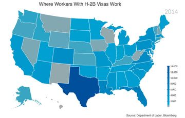 Map: Where Workers With H-2B Visas Work