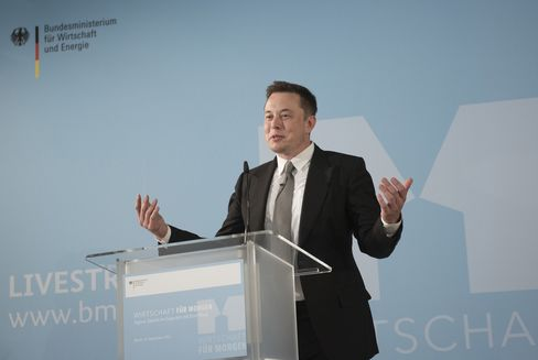 Elon Musk speaks in Berlin on Thursday, Sept. 24, 2015.