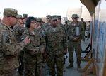Heidi Shyu, second left, visits troops in Afghanistan.