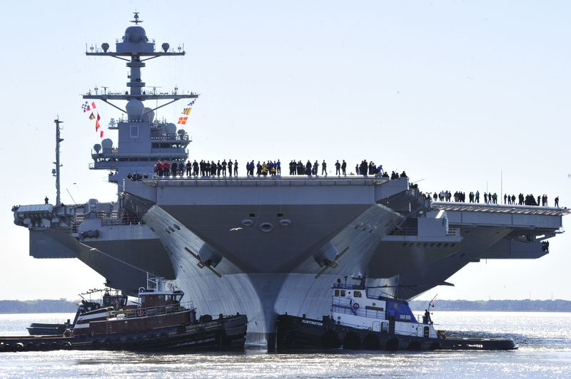 The USS Gerald R. Ford sea trials off the U.S. East Coast.