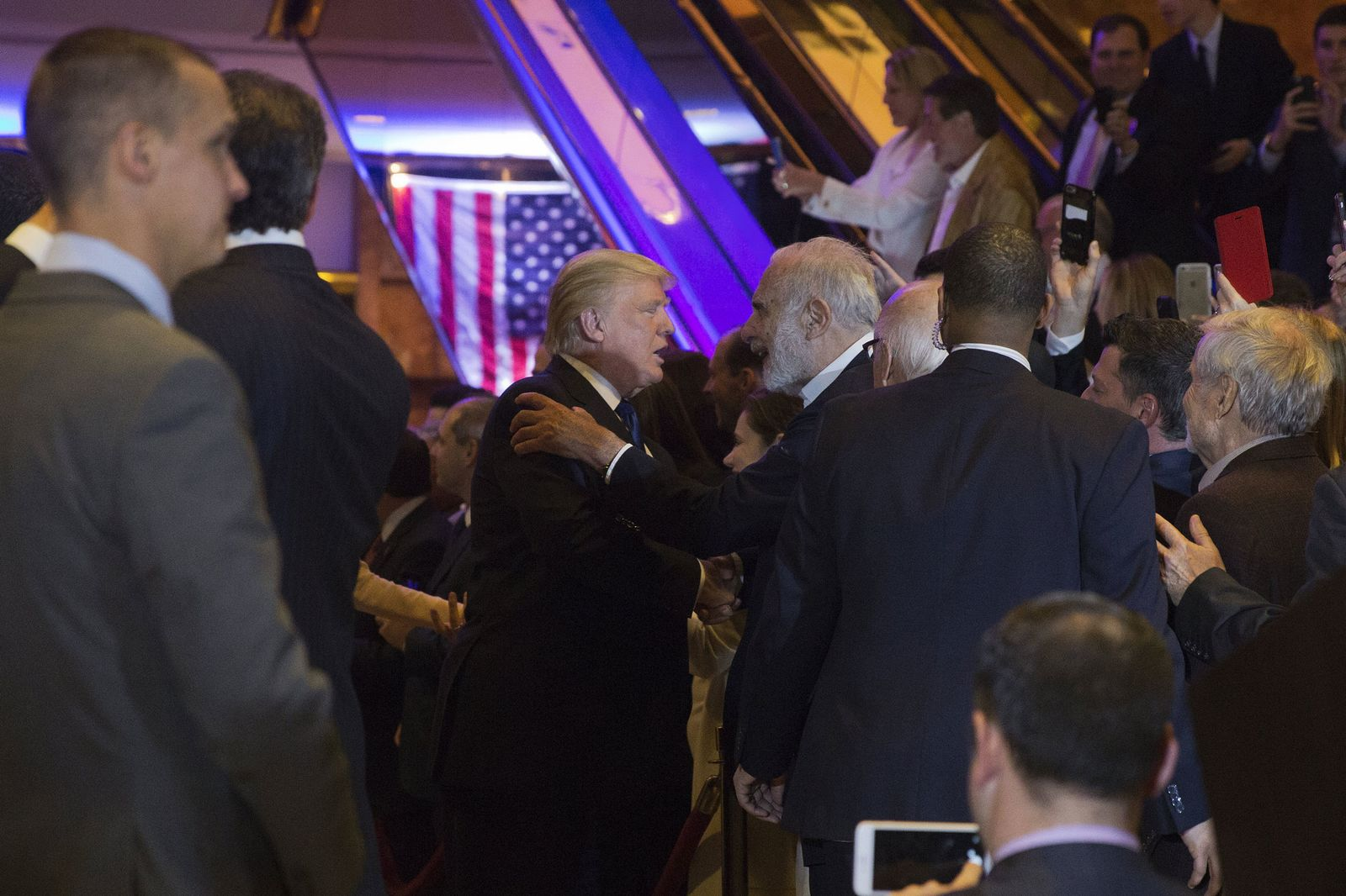 Trump and Icahn at Trump Tower the night of the New York primary in April 2016