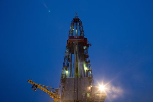 An Oil Drilling Derrick Stands in the Salym Oil Fields
