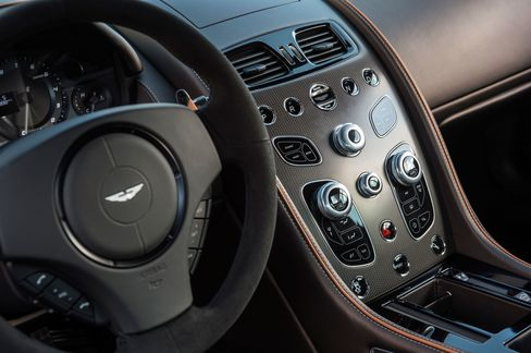 The interior of the DB9 GT is defined by fluted perforated leather seats and futuristic console design.