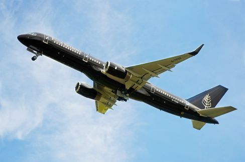 The Four Seasons' private Boeing 757, which stretches 115 feet in length, takes to the skies