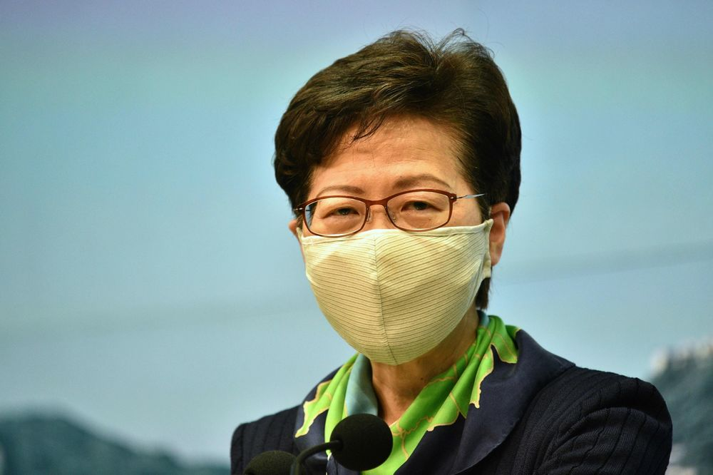 Carrie Lam speaks during a press conference at the government headquarters in Hong Kong on Aug. 18