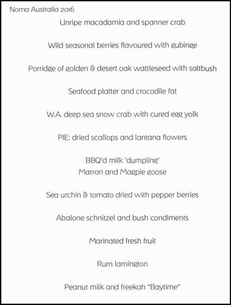 A scan of the menu served last week.