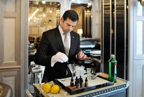 Connaught Bar's martini trolley is presided over by Agostino Perrone, director of mixology.